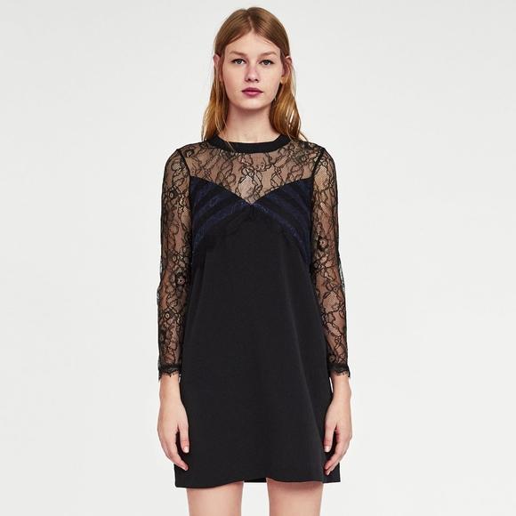 ceb066bd75 Zara Romantic Contrast Lace Sheer Mini Dress